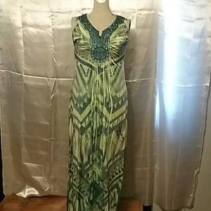 Apt 9 Green and Blue Maxi Dress Size S